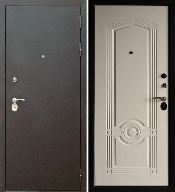 Металлическая входная дверь Тайгер Трио (шёлк/белёный дуб)